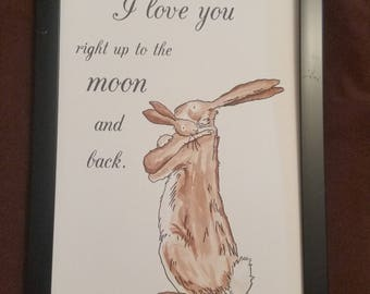 A4 Guess How Much I Love You Rabbit Cuddle Sam McBratney Anita Jeram Quote and Watercolour Hand Painted Love You to the Moon and Back
