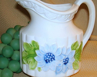 Blue Flower Pitcher & Pink Flower Vase Duo Vintage Raised Floral Image on White Ceramic Shabby Chic Country