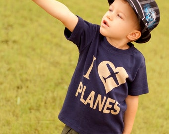I Love Planes Toddler Shirt, Kids Shirt, Plane Shirt, Airplane Party Shirt, boys shirt, Ink Free, click for colors