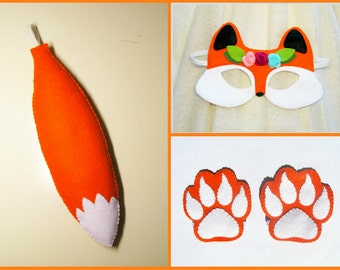 Fox girl mask tail cuffs set Orange Black White handmade soft forest animal costume dress up play accessory photo props Theatre roleplay
