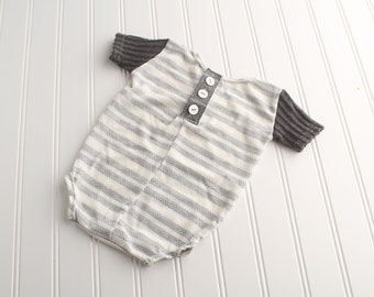Brand New Mister - Sitter 6-9m  short sleeve romper in ivory, grey, charcoal and slate with herringbone and plaid (RTS)