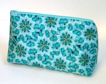 AQUA and GOLD KALEIDOSCOPE 100% cotton fabric Cosmetic Bag, gift bag with nylon zipper closure