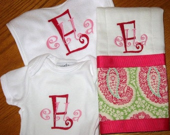 Baby Bib Burpcloth Long Sleeved Onesie Gift Set Personalized Embroidery with Name or Saying Boy Girl Surprise