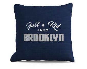 Just a Kid From Brooklyn Pillow, 8x18 Pillow, Brooklyn Pillow, NYC Pillow, New York Pillow, Brooklyn Nets, New York Yankees, Sofa Pillow