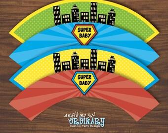 Super Baby Cupcake Wrappers, DIY Superhero Baby Shower Labels, INSTANT DOWNLOAD, digital printable file