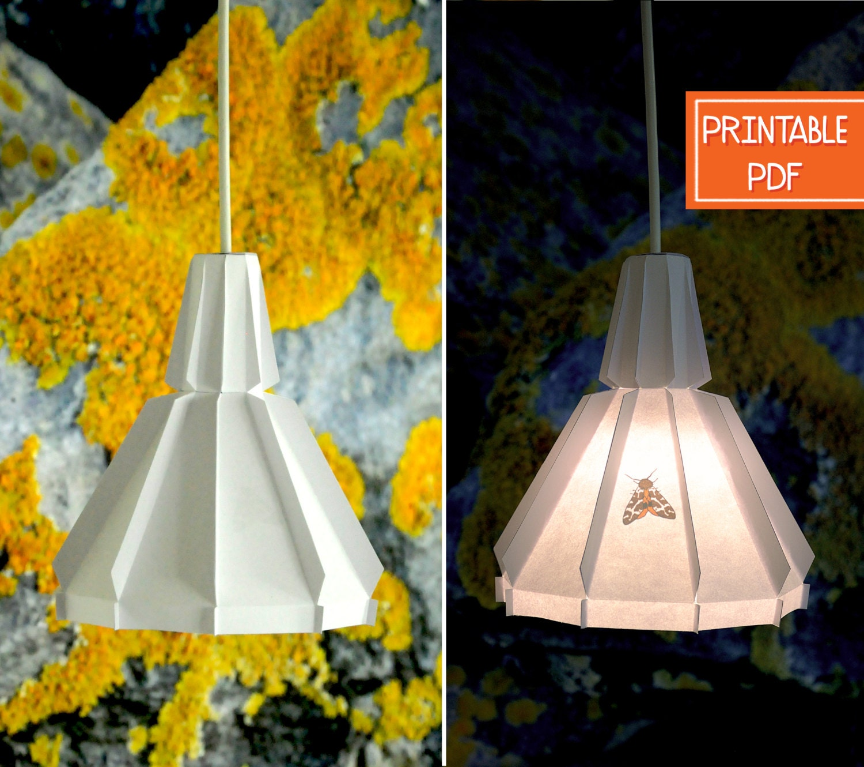 Paper pendant lamp orange moth printable diy lamp zoom solutioingenieria Gallery