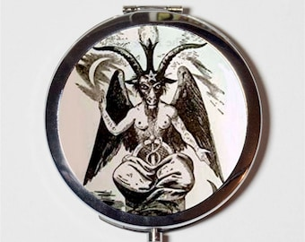 White Baphomet Compact Mirror - Occult Sabbatic Goat Pagan - Make Up Pocket Mirror for Cosmetics