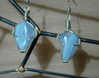 Blue Lace Agate - Earrings - Gifts for Her - Dangle and Drop - Wire Wrapped