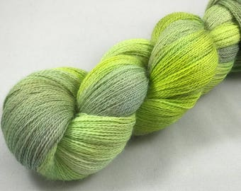 "Hand Dyed Lace Yarn, 100% Baby Alpaca, 874 Yards, 100g ""Peace Green"""