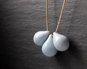 Handmade ceramic drop beads, light blue pendant necklace
