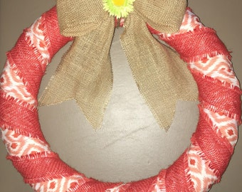 White and coral spring wreath 18 inch