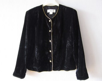 Black Velvet Jacket Crushed Velvet Jacket Golden Buttons Closure Black Velvet Blazer Goth Gothic Made in USA Norton McNaughton Size Large