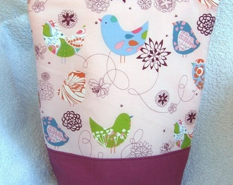 Little Blue Bird Lunch Tote Bag - Insulated - With Zipper
