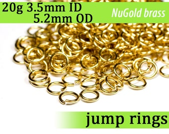 20g 3.5 mm ID 5.2 mm OD NuGold brass jump rings -- 20g3.50 open jumprings