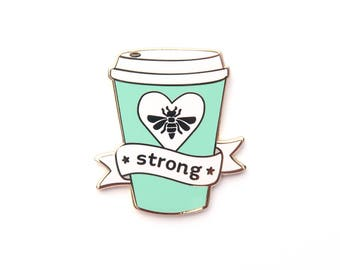 Mint Bee Strong Pin, Enamel Pin, Wishes, gold metal, hard enamel, brooche, coffee, strong coffee, coffee pin, coffee cup