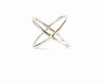 Stackable Ring, Sterling Silver Ring, Stacked Ring, X Ring, Silver Criss Cross Ring, Modern Ring, Statement Ring