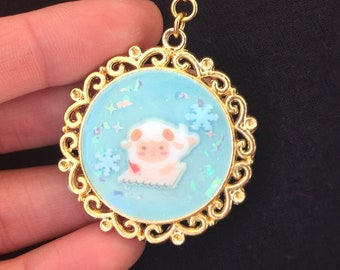 Little lamb blue resin charm keychain