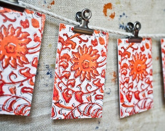 Vintage Indian Block Print Mini Card Set - SET of EIGHT Gift Tags - Stationery Set - Gift Tag - Hostess Gift - Place Cards - Gift Under 10