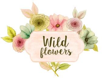 Floral clipart, watercolor floral clipart, spring clipart, wedding clipart, wedding invites