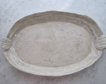 home and living/kitchen and dining/dining and serving/trays and platters/handmade ceramic platter/handmade clay tray/pottery platter tray