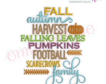 Fall Autumn Harvest Word Block - Instant Download Machine embroidery design