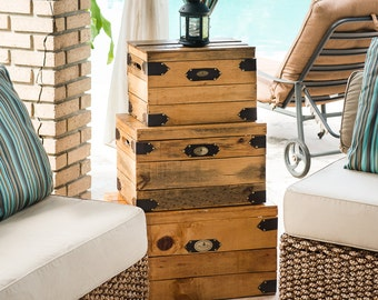 Wooden Crate Rustic Storage Chest | Coffee Table • Side Table • Rustic Home Decor • Farmhouse Decor • Reclaimed Pallet Wood (Set of 3 Light)