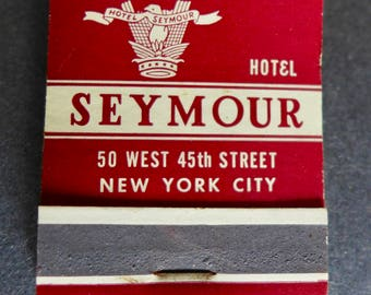 Vintage Match Book Seymour Hotel/ Seymour Hotel, NYC/ Vintage Matchbook/ Seymour Hotel Matchbook Advertising