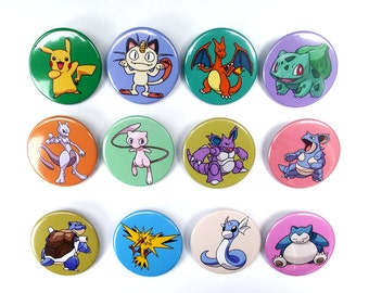 Pokemon Badges - First Gen  (x13) Including Pikachu, Charizard, Meowth, Squirtle