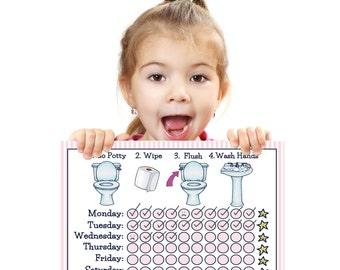 PRINTABLE- GIRLS- Days of Week- POTTY Training Chart- Young Child/Toddler Potty Chart