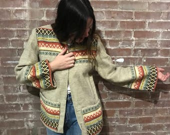 vintage Southwestern woven wool jacket / native print light coat / neutral open front blazer jacket