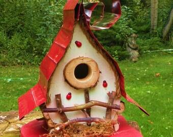 bird house, Birdhouse, custom birdhouse, Whimsical Birdhouse, nesting box, options  in color options, garden art, gift