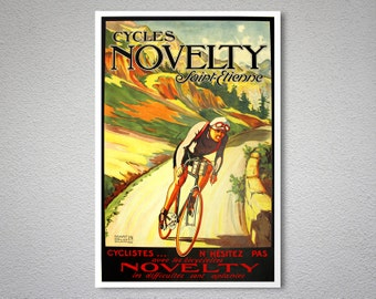Cycles Novelty Saint Etienne  Vintage Cycle Poster - Poster Print, Sticker or Canvas Print / Gift Idea