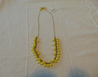vintage FRAGMENTS mfg. yellow lucite gold beads necklace gold plated unused mint