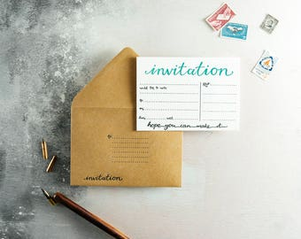 Invitation Letterpress Invite Set of 10