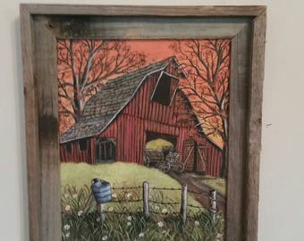 Acrylic Painting on canvess and framed in Barn Wood Frame, ready to Hang of Red Barn, Fence and wagon in Barn.