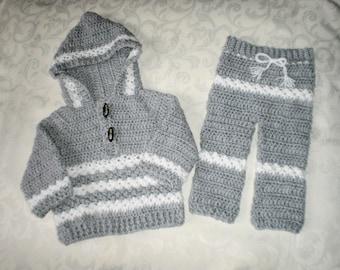 Les garçons au crochet gris Jogging costume pour 12 mois