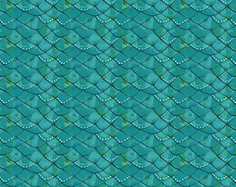 Mermaid Days - Scalloped Turquoise by Cori Dantini for Blend Fabrics - 1 yd