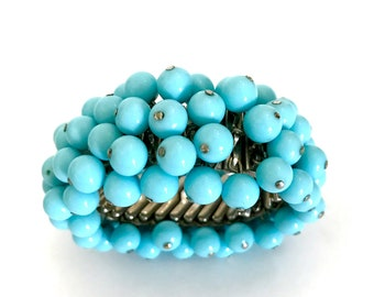 Blue Bead Expansion Bracelet, Aqua Blue Glass Beads, 7mm , Mid-Century Wide Cha - Cha Bracelet, Texture & Movement, Vintage Gift for Her
