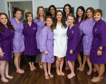 COTTON WAFFLE ROBES - Bridesmaid Robes - Wedding Robes - Bridal Party Robes - Bridal Party Gift - Spa Robes - Spa Party - Kimono Robes