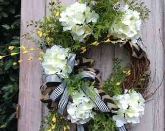 Blue Hydrangea WreathSpring WreathDouble Door WreathMothers