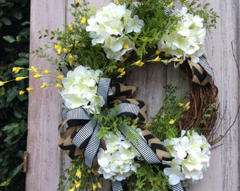 White Hydrangea Wreath,Hydrangea Wreath For Front Door,Double Door Wreath,Hydrangea  Door