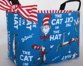 Storage Fabric Organizer Container Bin Basket - Made with Licensed Dr. Seuss Fabric - Cat in the Hat Book Cover Fabric