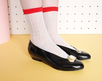 90s ROYAL flats patent flat shoes with DIAMOND shoes BALLET flats balerina flats ankle flat shoes grace kelly / Size 7.5 us / 5 uk / 38 eu