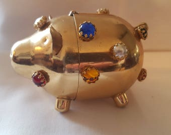 Rare Napier jeweled gold plated bank