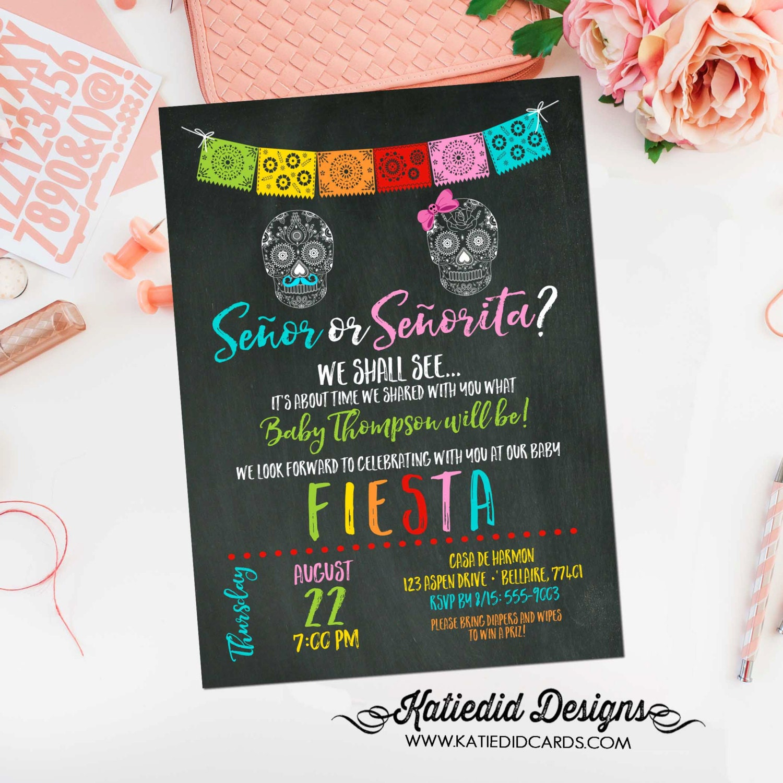Fiesta baby shower invitation surprise gender reveal co-ed baby ...