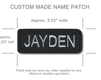 CUSTOM EMBROIDERY NAME Patch, Personalized Embroidery Name Patch for  Leather Vest , Custom Made Patch