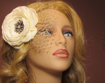 Camille Flower Fascinator, Great Gatsby, 1920s, Art Deco, Headpiece, Jazz Age, Old Hollywood