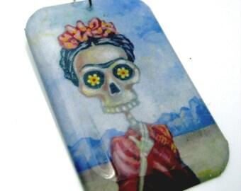 Frida in Red Resin art pendant- featuring original sugar skull artwork by FloweroftheDead blue kahlo wearable art charm cobalt