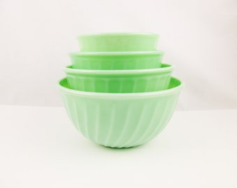 "Fire-King Jadeite Green 'Nesting' Mixing Bowls -  'Swirl' Pattern Bowls - From Large 9"" Down to 6"" Bowls"