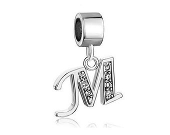 Initial M Charm, Letter M Bead, Bracelet Charm Beads, European Charms, Large Hole Bead, European Bracelet Charm, Charm Bracelet Bead
